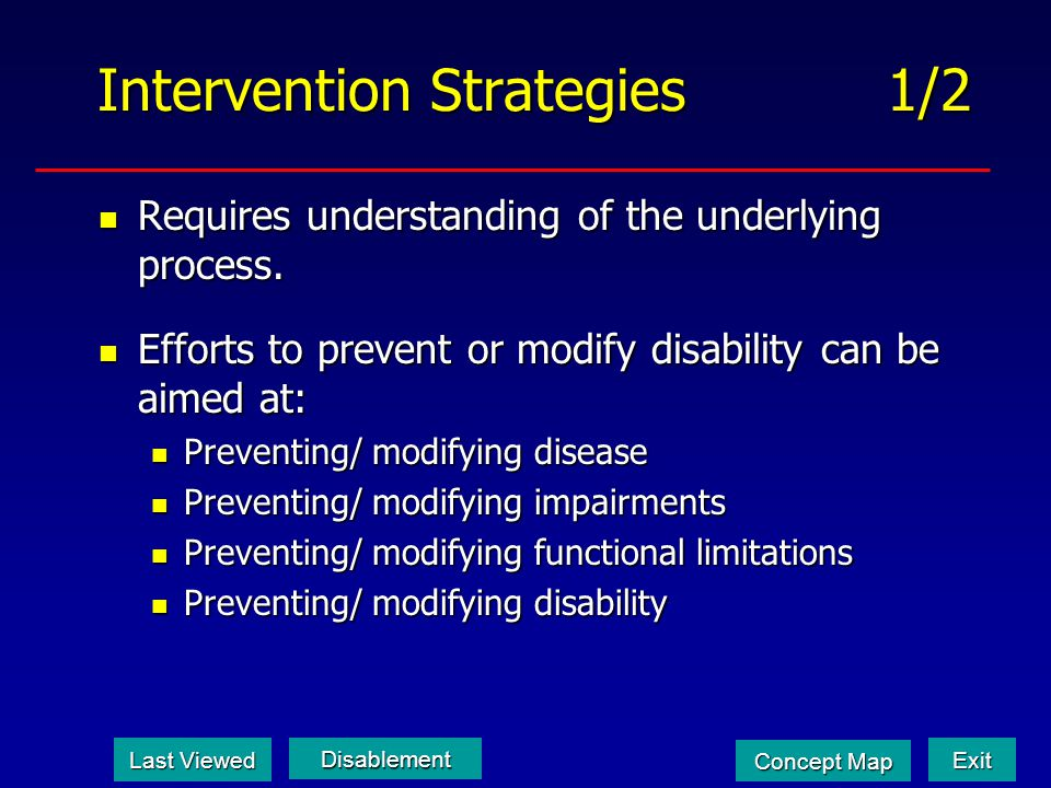 Intervention Strategies 1/2 Requires understanding of the underlying process. Requires understanding of the underlying process. Efforts to prevent or