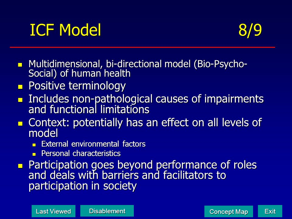ICF Model 8/9 Multidimensional, bi-directional model (Bio-Psycho- Social) of human health Multidimensional, bi-directional model (Bio-Psycho- Social)
