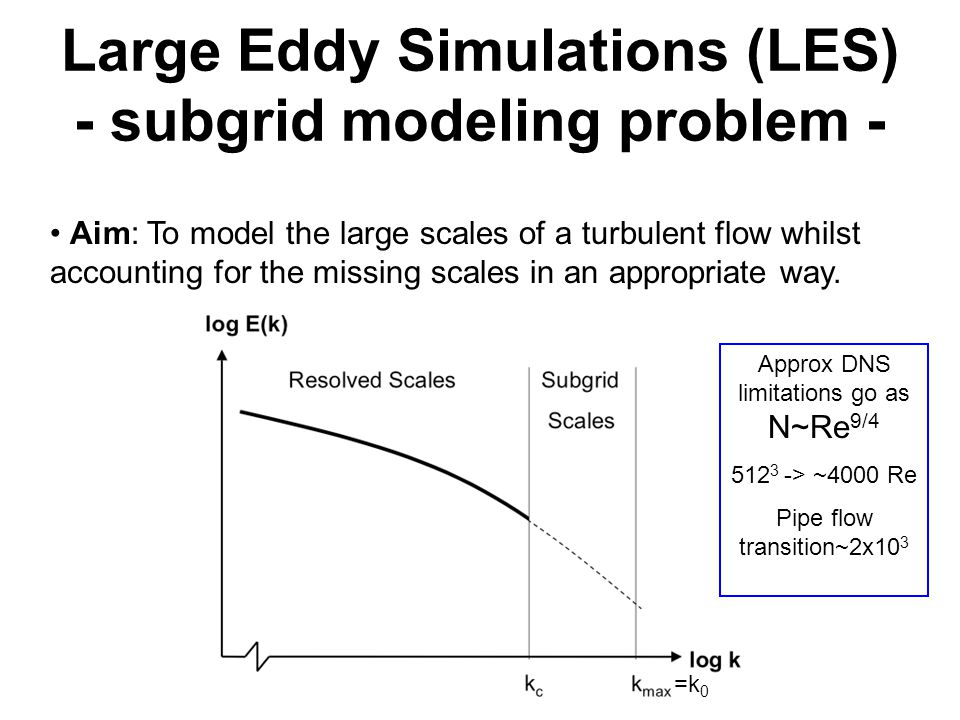 Large Eddy Simulations (LES) - subgrid modeling problem - Aim: To model the large scales of a turbulent flow whilst accounting for the missing scales