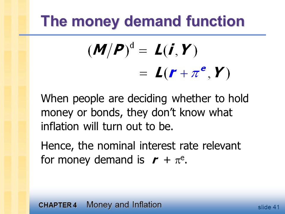 CHAPTER 4 Money and Inflation slide 41 The money demand function When people are deciding whether to hold money or bonds, they don't know what inflati