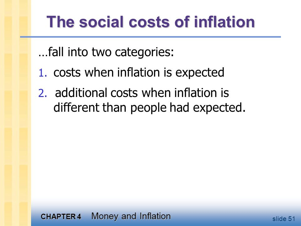 CHAPTER 4 Money and Inflation slide 51 The social costs of inflation …fall into two categories: 1. costs when inflation is expected 2. additional cost