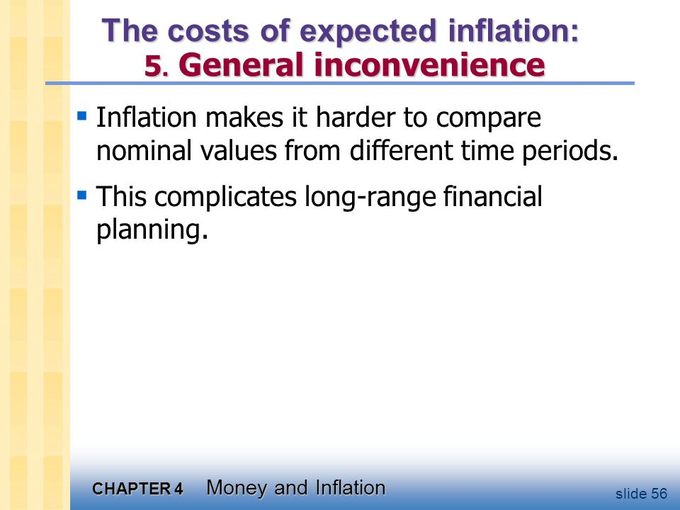 CHAPTER 4 Money and Inflation slide 56 The costs of expected inflation: 5. General inconvenience  Inflation makes it harder to compare nominal values