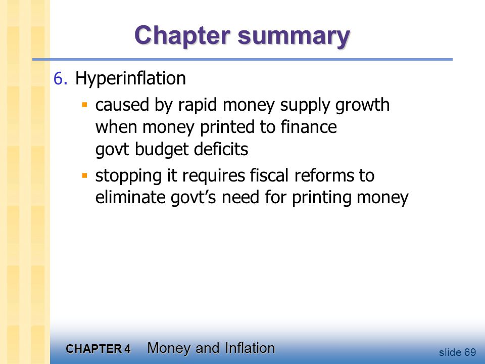 CHAPTER 4 Money and Inflation slide 69 Chapter summary 6. Hyperinflation  caused by rapid money supply growth when money printed to finance govt budg