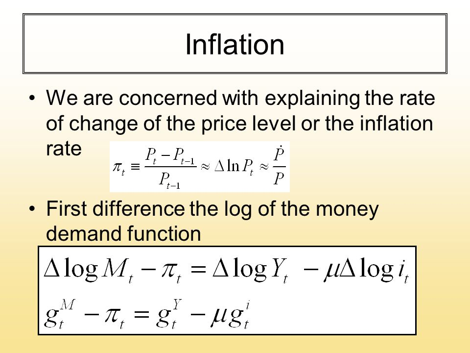 Inflation We are concerned with explaining the rate of change of the price level or the inflation rate First difference the log of the money demand function