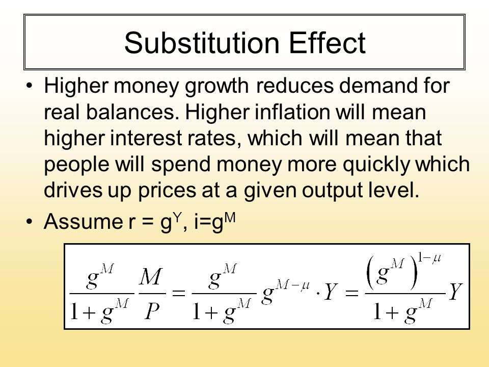 Substitution Effect Higher money growth reduces demand for real balances. Higher inflation will mean higher interest rates, which will mean that peopl