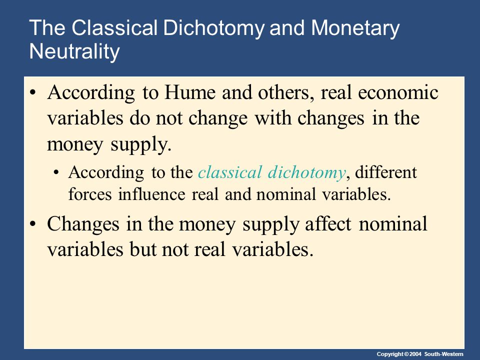 Copyright © 2004 South-Western The Classical Dichotomy and Monetary Neutrality According to Hume and others, real economic variables do not change with changes in the money supply.
