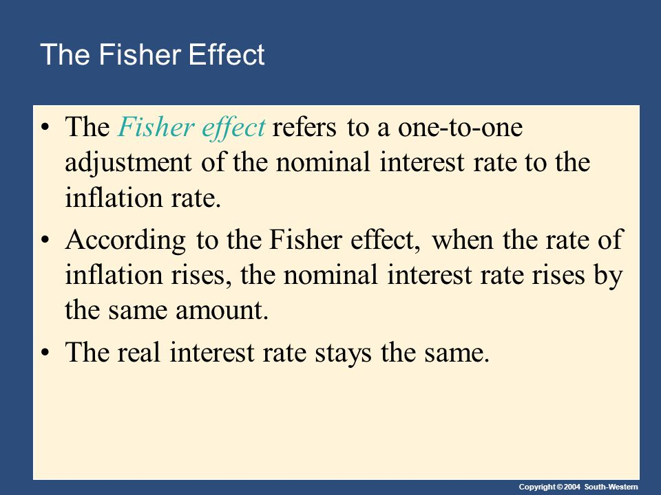 Copyright © 2004 South-Western The Fisher Effect The Fisher effect refers to a one-to-one adjustment of the nominal interest rate to the inflation rate.