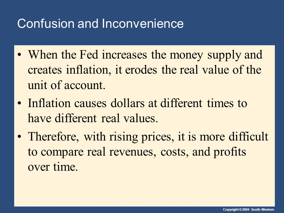Confusion and Inconvenience When the Fed increases the money supply and creates inflation, it erodes the real value of the unit of account.