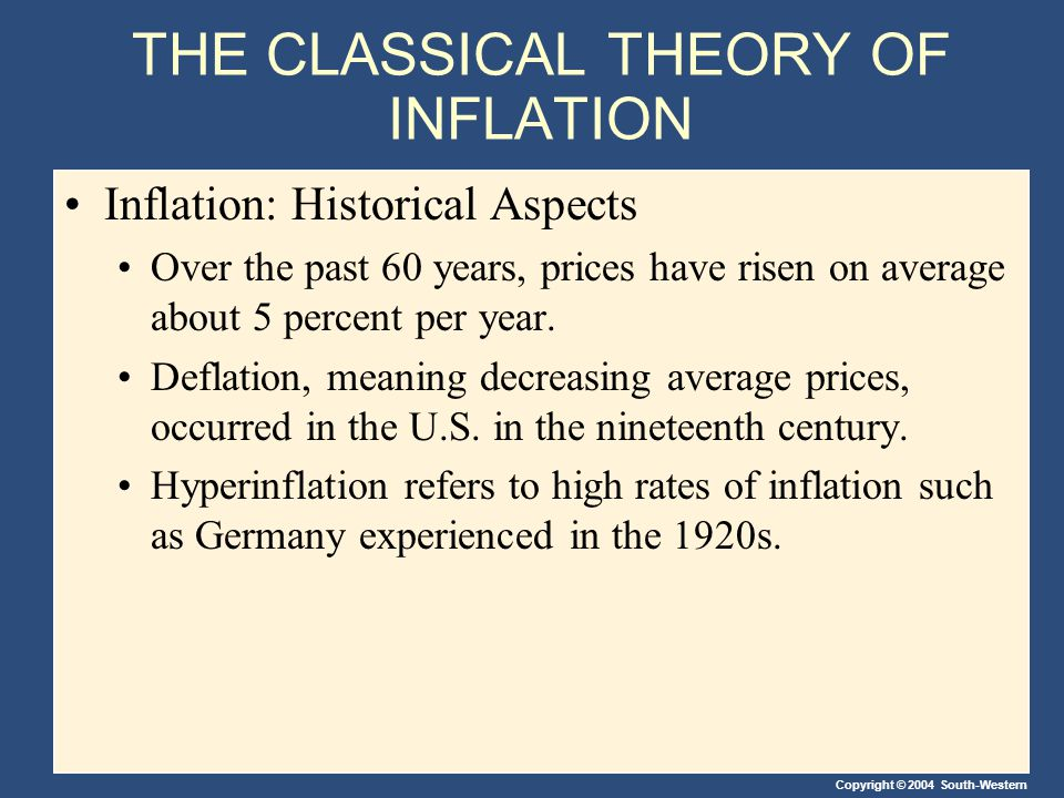 Copyright © 2004 South-Western THE CLASSICAL THEORY OF INFLATION Inflation: Historical Aspects Over the past 60 years, prices have risen on average about 5 percent per year.