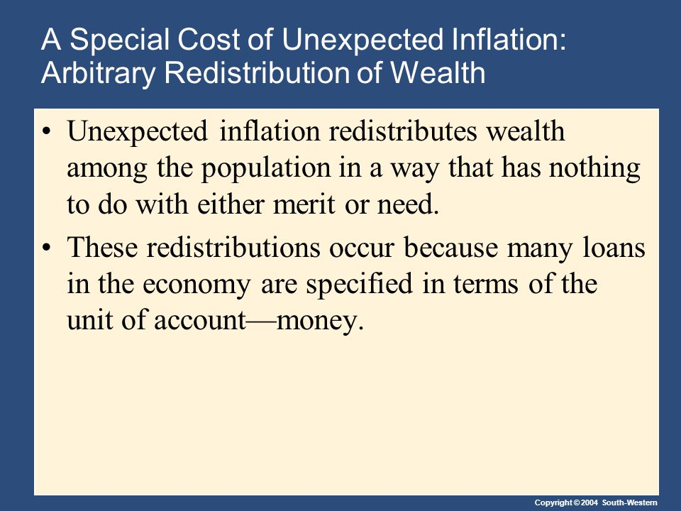 Copyright © 2004 South-Western A Special Cost of Unexpected Inflation: Arbitrary Redistribution of Wealth Unexpected inflation redistributes wealth among the population in a way that has nothing to do with either merit or need.