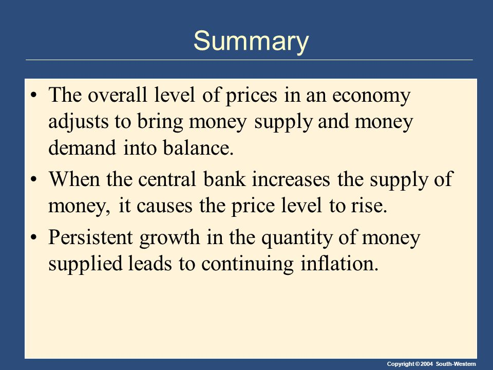 Copyright © 2004 South-Western Summary The overall level of prices in an economy adjusts to bring money supply and money demand into balance.
