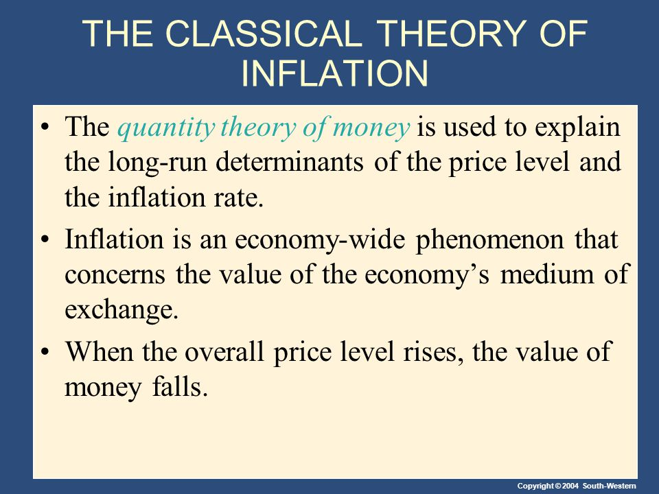 Copyright © 2004 South-Western THE CLASSICAL THEORY OF INFLATION The quantity theory of money is used to explain the long-run determinants of the price level and the inflation rate.