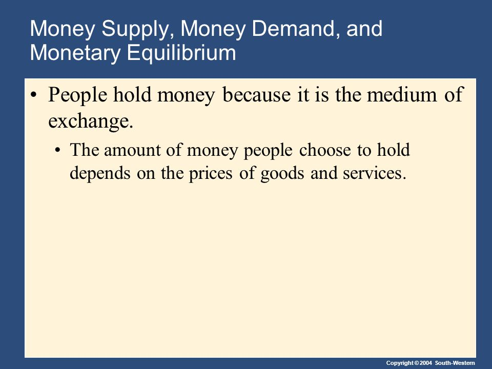 Copyright © 2004 South-Western Money Supply, Money Demand, and Monetary Equilibrium People hold money because it is the medium of exchange.