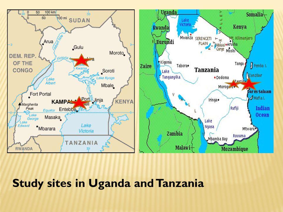 Study sites in Uganda and Tanzania