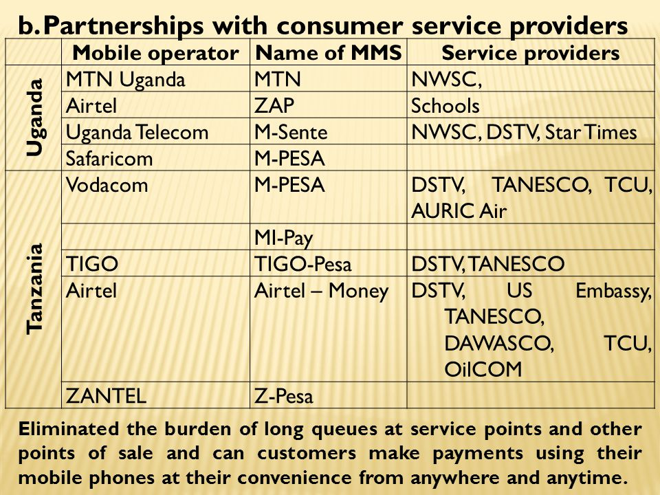 Mobile operatorName of MMSService providers Uganda MTN UgandaMTNNWSC, AirtelZAPSchools Uganda TelecomM-SenteNWSC, DSTV, Star Times SafaricomM-PESA Tanzania VodacomM-PESADSTV, TANESCO, TCU, AURIC Air MI-Pay TIGOTIGO-PesaDSTV, TANESCO AirtelAirtel – MoneyDSTV, US Embassy, TANESCO, DAWASCO, TCU, OilCOM ZANTELZ-Pesa b.Partnerships with consumer service providers Eliminated the burden of long queues at service points and other points of sale and can customers make payments using their mobile phones at their convenience from anywhere and anytime.