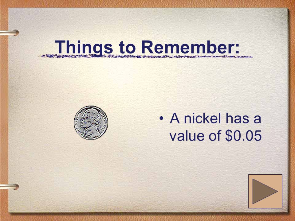 Things to Remember: A nickel has a value of $0.05