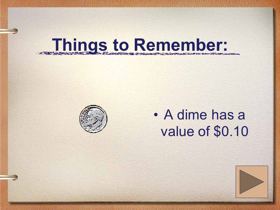 Things to Remember: A dime has a value of $0.10