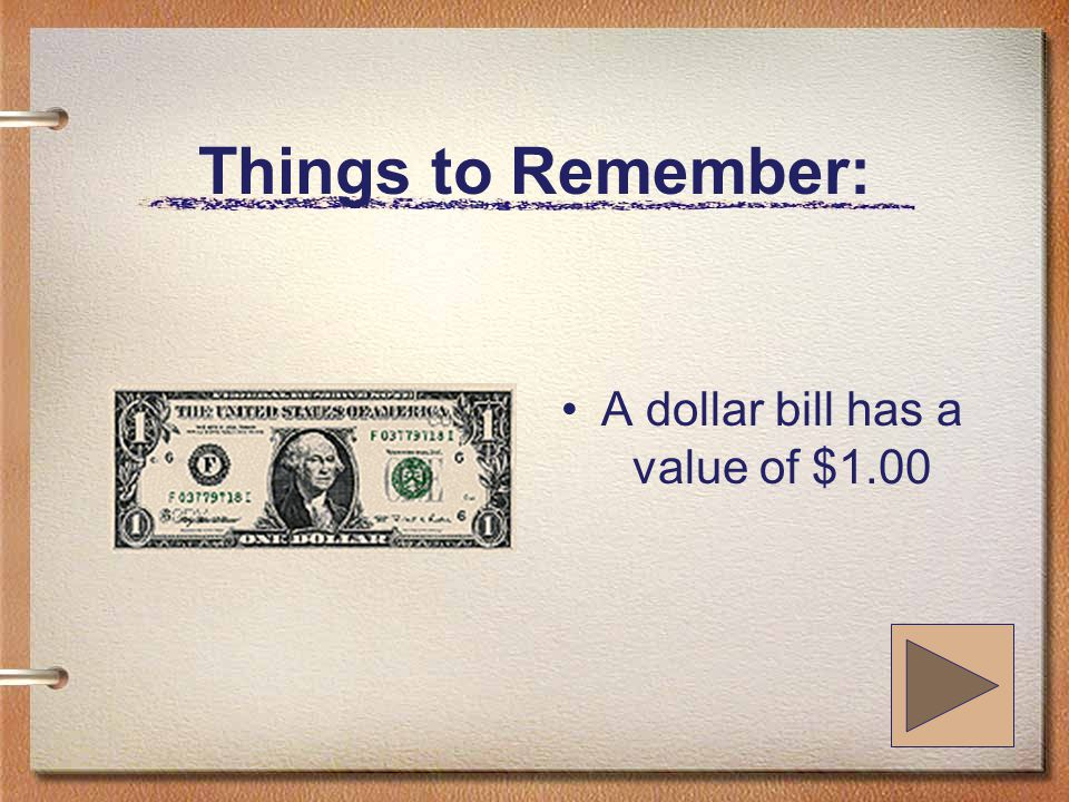 Things to Remember: A five dollar bill has a value of $5.00