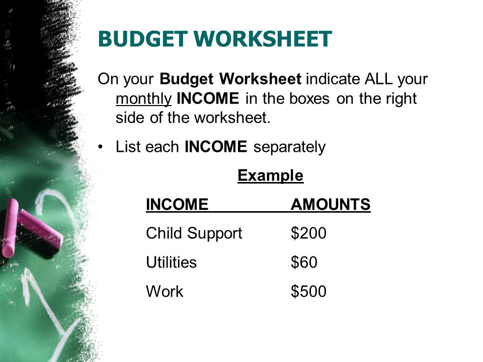 BUDGET WORKSHEET Once you have all your amounts noted, in both the INCOME and EXPENSES boxes, total both columns at the bottom.