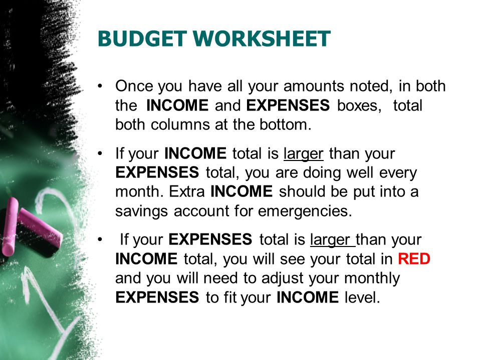 ADJUSTING YOUR BUDGET Think about items in your EXPENSES boxes that can be reduced or eliminated for each month.