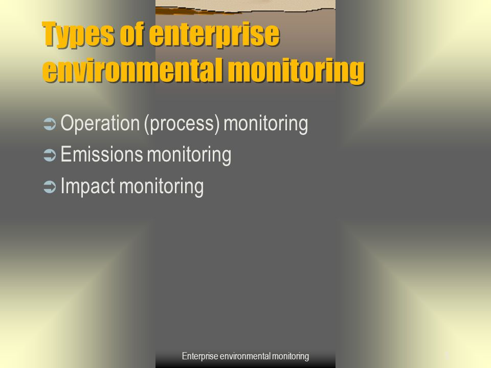 Enterprise environmental monitoring5 Types of enterprise environmental monitoring  Operation (process) monitoring  Emissions monitoring  Impact mon