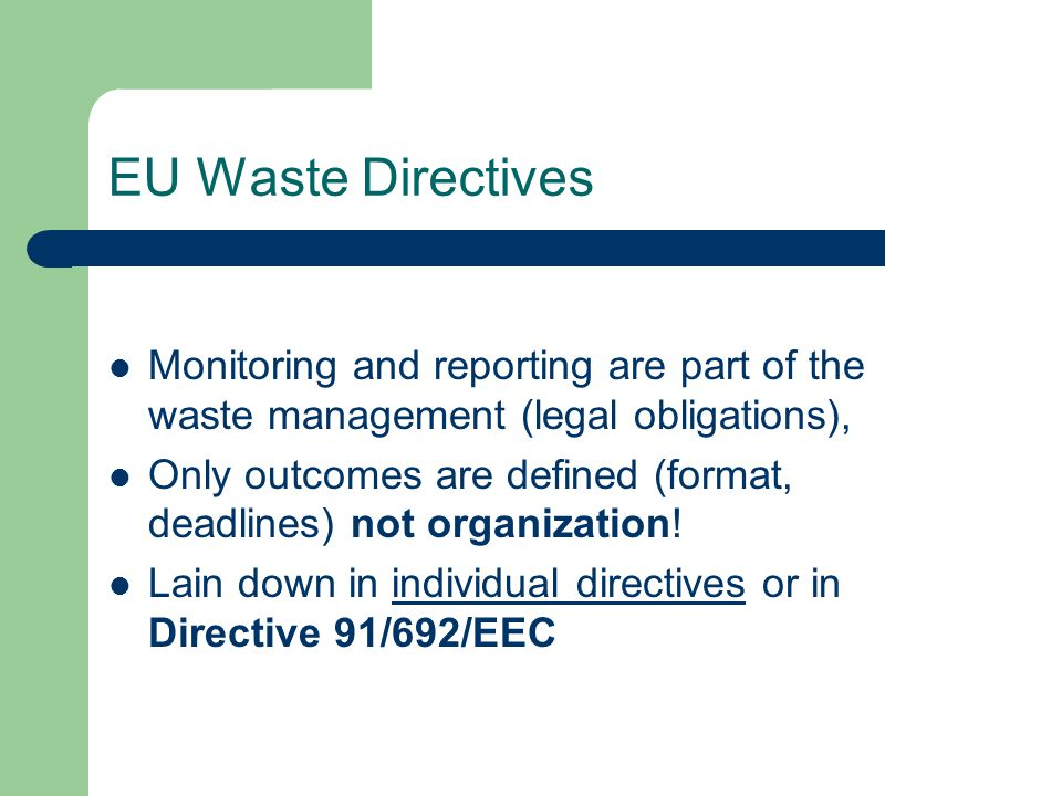 Waste Statistics Regulation 2150/2002/EC (WstatR) The different categories of waste and the characteristics for which the statistics are to be compiled (quantity of waste handled, generation of waste by economic activities and households, waste management operations, etc.) are reviewed in detail in the tables (Annexes) attached to the Regulation.