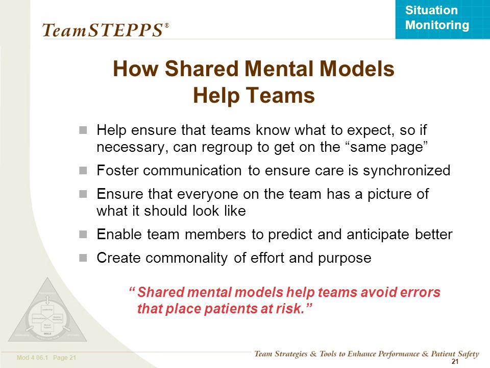 T EAM STEPPS 05.2 Mod 4 06.1 Page 21 Situation Monitoring ® 21 Help ensure that teams know what to expect, so if necessary, can regroup to get on the