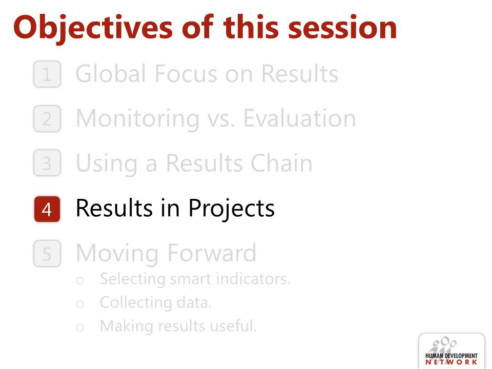 Objectives of this session Global Focus on Results Monitoring vs. Evaluation Moving Forward o Selecting smart indicators. o Collecting data. o Making