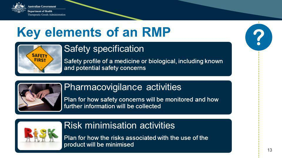Key elements of an RMP Safety specification Safety profile of a medicine or biological, including known and potential safety concerns Pharmacovigilanc