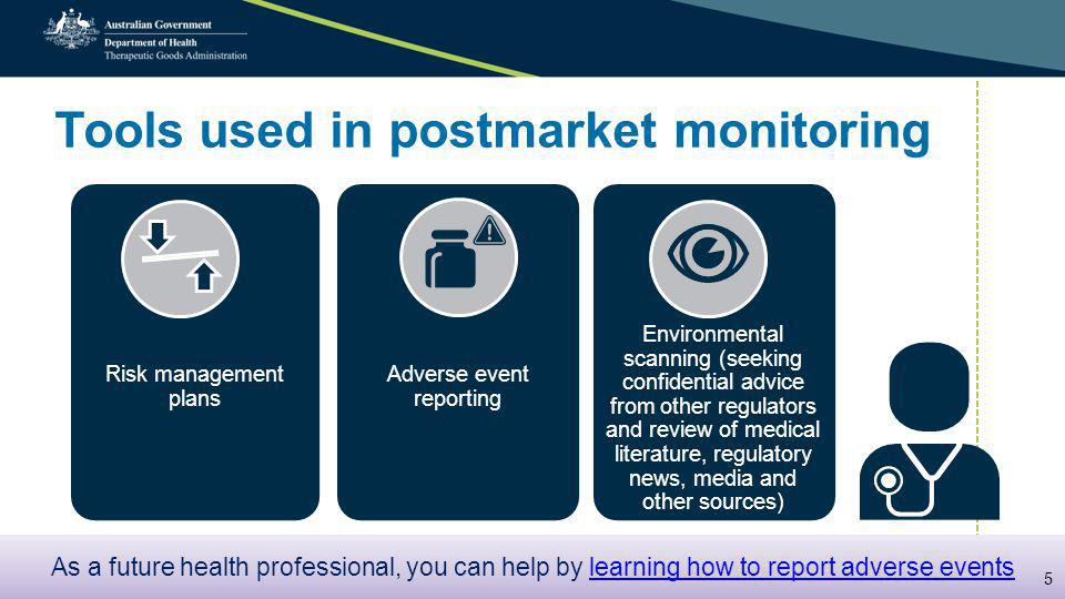 Tools used in postmarket monitoring Risk management plans Adverse event reporting Environmental scanning (seeking confidential advice from other regulators and review of medical literature, regulatory news, media and other sources) As a future health professional, you can help by learning how to report adverse eventslearning how to report adverse events As a future health professional, you can help by learning how to report adverse eventslearning how to report adverse events 5