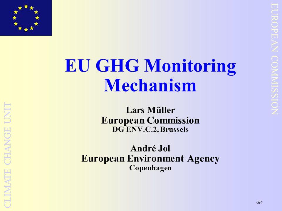 1 EUROPEAN COMMISSION CLIMATE CHANGE UNIT EU GHG Monitoring Mechanism Lars Müller European Commission DG ENV.C.2, Brussels André Jol European Environment Agency Copenhagen
