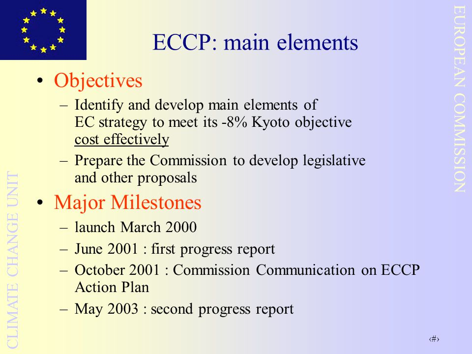 33 EUROPEAN COMMISSION CLIMATE CHANGE UNIT ECCP: main elements Objectives –Identify and develop main elements of EC strategy to meet its -8% Kyoto objective cost effectively –Prepare the Commission to develop legislative and other proposals Major Milestones –launch March 2000 –June 2001 : first progress report –October 2001 : Commission Communication on ECCP Action Plan –May 2003 : second progress report