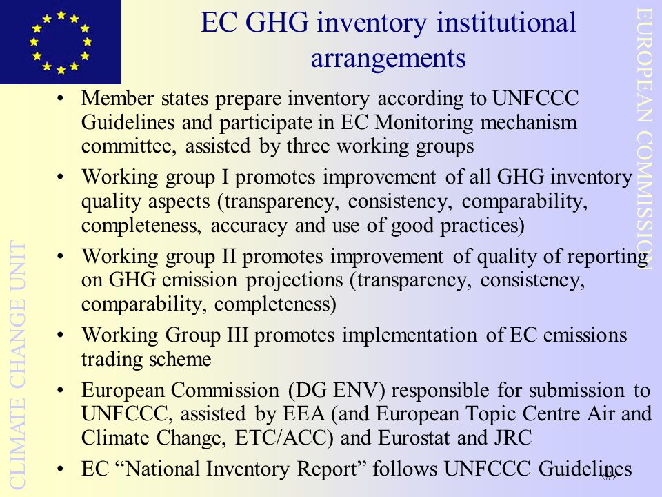 6 EUROPEAN COMMISSION CLIMATE CHANGE UNIT EC GHG inventory institutional arrangements Member states prepare inventory according to UNFCCC Guidelines and participate in EC Monitoring mechanism committee, assisted by three working groups Working group I promotes improvement of all GHG inventory quality aspects (transparency, consistency, comparability, completeness, accuracy and use of good practices) Working group II promotes improvement of quality of reporting on GHG emission projections (transparency, consistency, comparability, completeness) Working Group III promotes implementation of EC emissions trading scheme European Commission (DG ENV) responsible for submission to UNFCCC, assisted by EEA (and European Topic Centre Air and Climate Change, ETC/ACC) and Eurostat and JRC EC National Inventory Report follows UNFCCC Guidelines