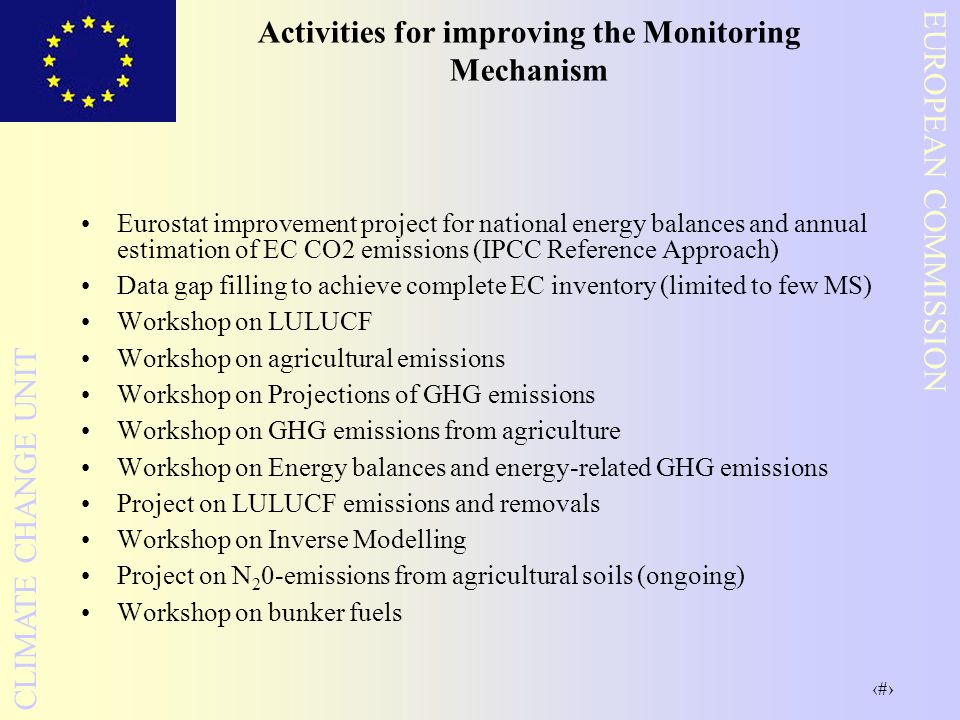 8 EUROPEAN COMMISSION CLIMATE CHANGE UNIT Activities for improving the Monitoring Mechanism Eurostat improvement project for national energy balances