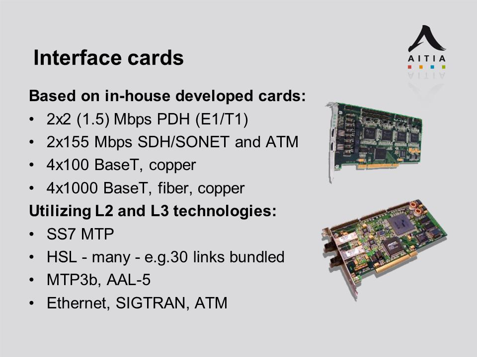Interface cards Based on in-house developed cards: 2x2 (1.5) Mbps PDH (E1/T1) 2x155 Mbps SDH/SONET and ATM 4x100 BaseT, copper 4x1000 BaseT, fiber, copper Utilizing L2 and L3 technologies: SS7 MTP HSL - many - e.g.30 links bundled MTP3b, AAL-5 Ethernet, SIGTRAN, ATM