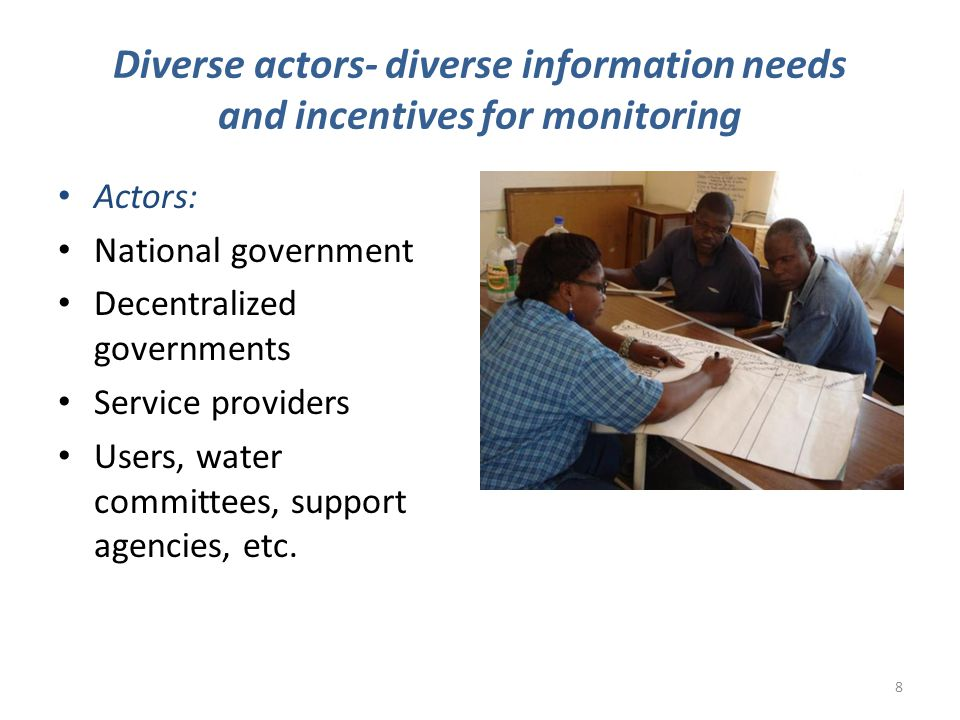 Multiple systems Degree of inter-institutional cooperation Complexity Organisational project-level monitoring Infrequently updated asset inventories Institution-based monitoring Sector-level monitoring