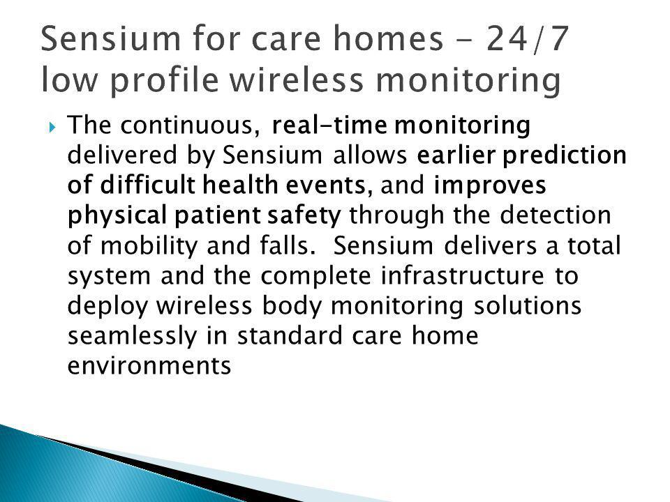  The continuous, real-time monitoring delivered by Sensium allows earlier prediction of difficult health events, and improves physical patient safety through the detection of mobility and falls.
