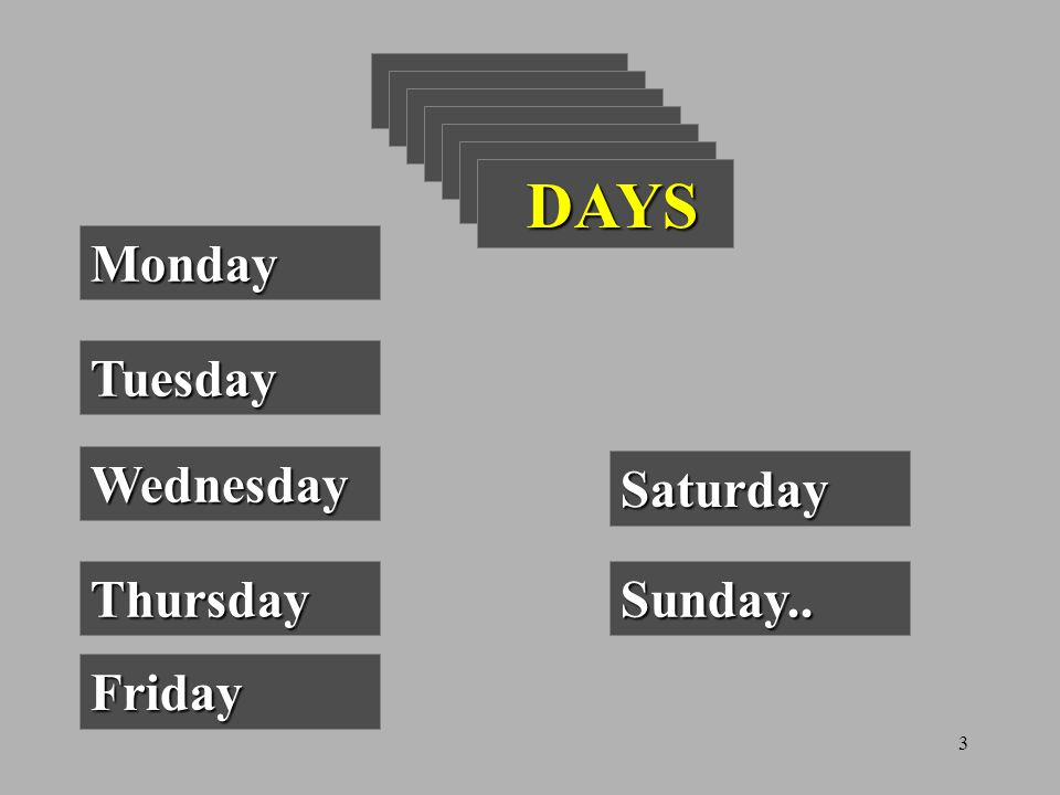 3 DAYS DAYS Monday Tuesday Wednesday Thursday Friday Saturday Sunday..