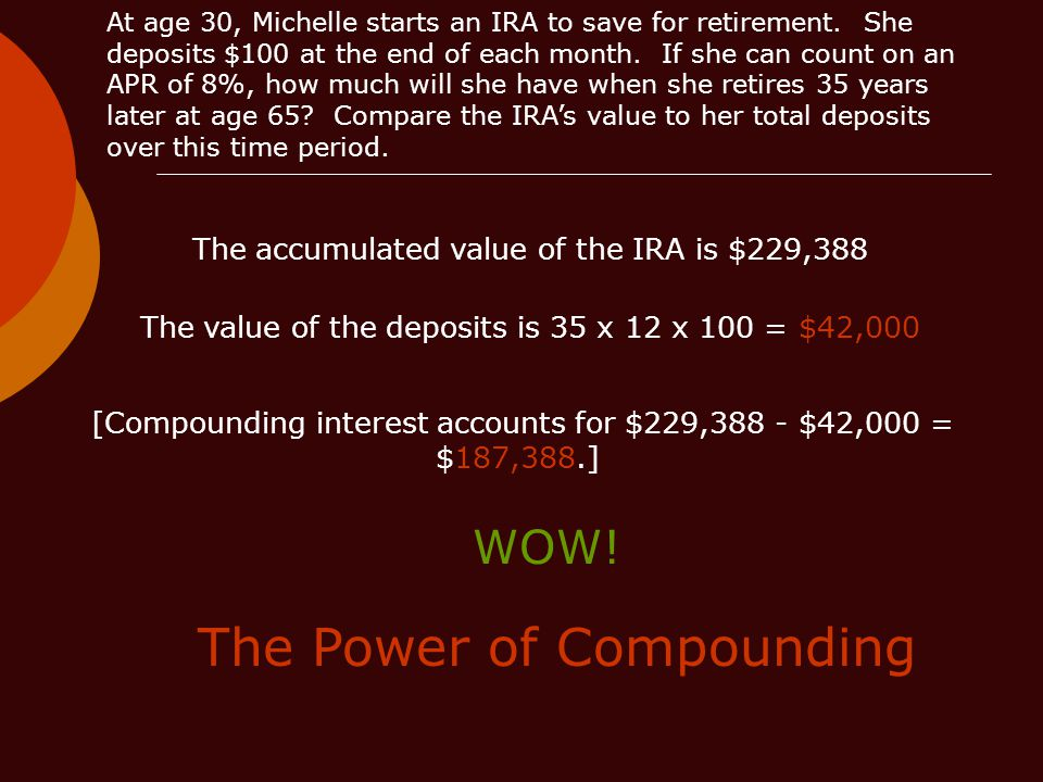 The accumulated value of the IRA is $229,388 The value of the deposits is 35 x 12 x 100 = $42,000 [Compounding interest accounts for $229,388 - $42,000 = $187,388.] The Power of Compounding WOW!