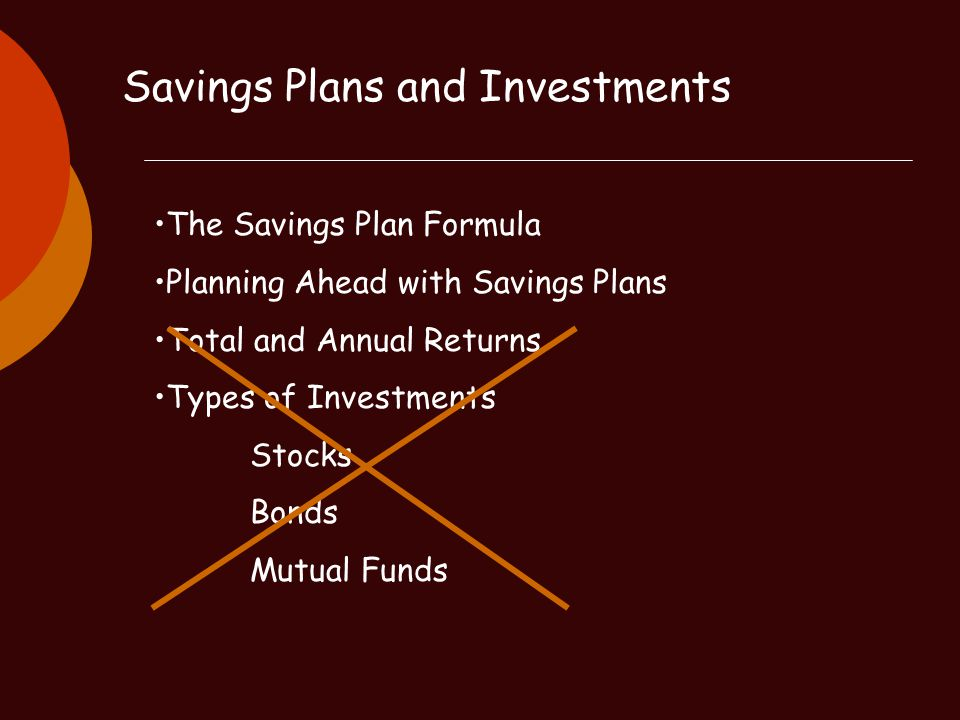 Savings Plans and Investments The Savings Plan Formula Planning Ahead with Savings Plans Total and Annual Returns Types of Investments Stocks Bonds Mu