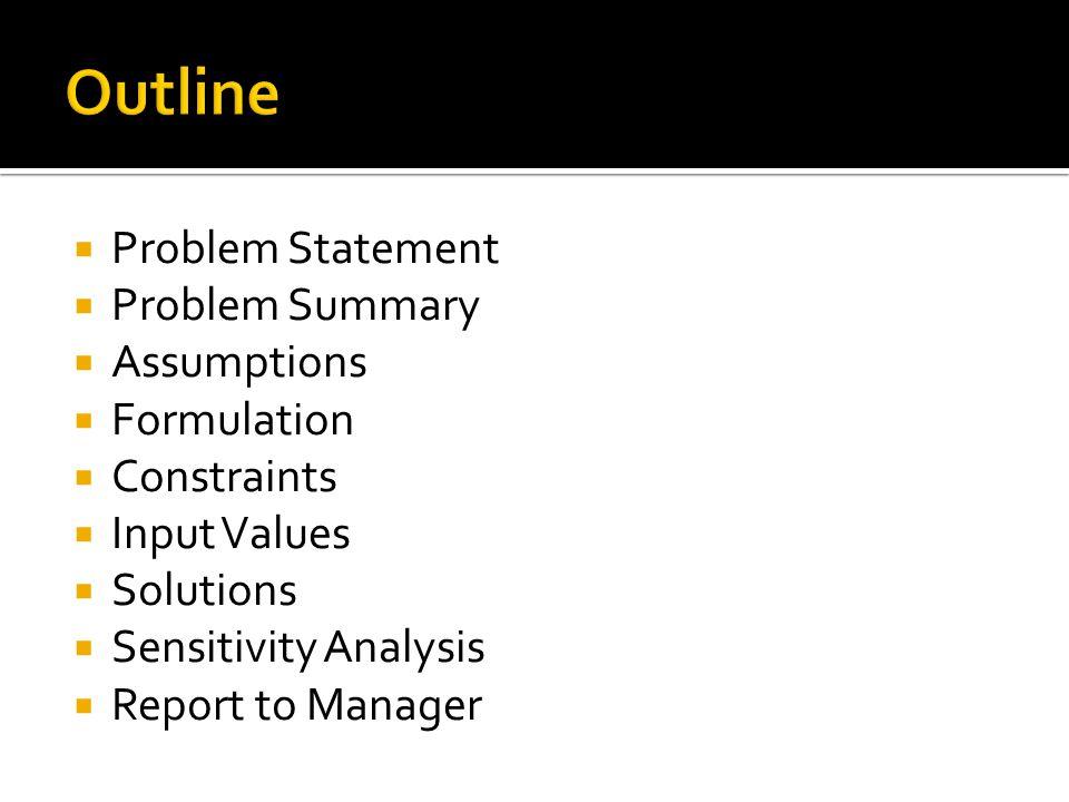 Problem Statement  Problem Summary  Assumptions  Formulation  Constraints  Input Values  Solutions  Sensitivity Analysis  Report to Manager