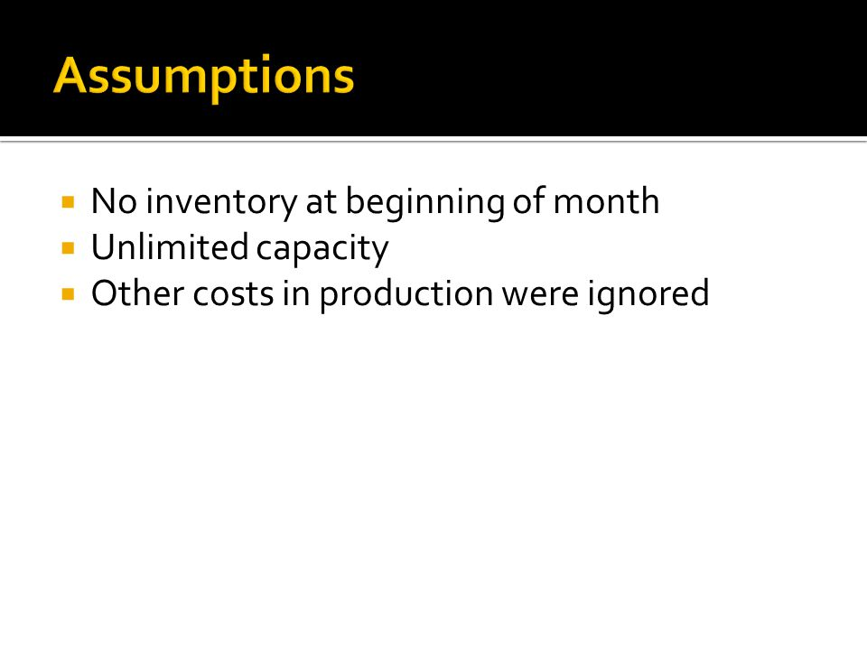  X t = number of commodities produced each month during month t  i t = number of commodities on hand at the end of month t  where t=1,2,3,4 for each month in the problem.