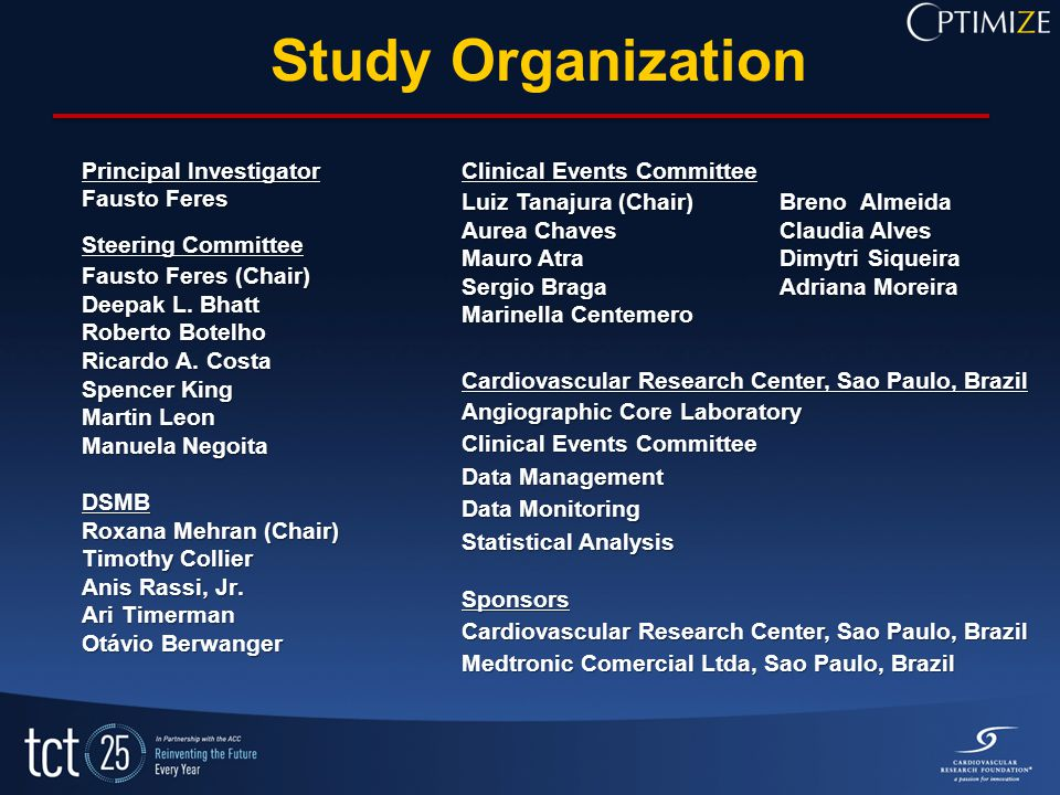 Study Organization Principal Investigator Fausto Feres Steering Committee Fausto Feres (Chair) Deepak L. Bhatt Roberto Botelho Ricardo A. Costa Spence