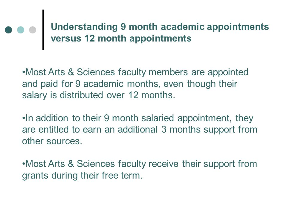 Understanding 9 month academic appointments versus 12 month appointments Most Arts & Sciences faculty members are appointed and paid for 9 academic months, even though their salary is distributed over 12 months.