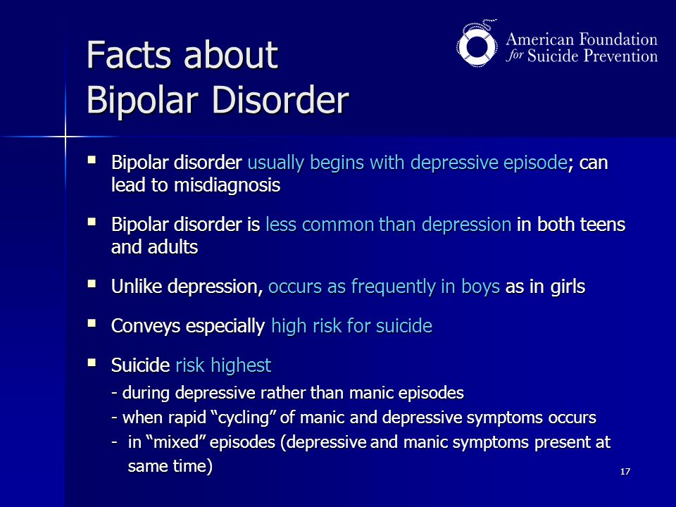 17 Facts about Bipolar Disorder  Bipolar disorder usually begins with depressive episode; can lead to misdiagnosis  Bipolar disorder is less common