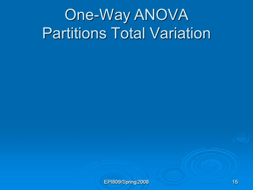 EPI809/Spring 200815 One-Way ANOVA Partitions Total Variation