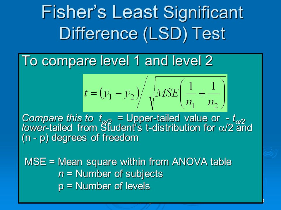 EPI809/Spring 2008 33 Fisher's Least Significant Difference (LSD) Test To compare level 1 and level 2 Compare this to t  /2 = Upper-tailed value or -