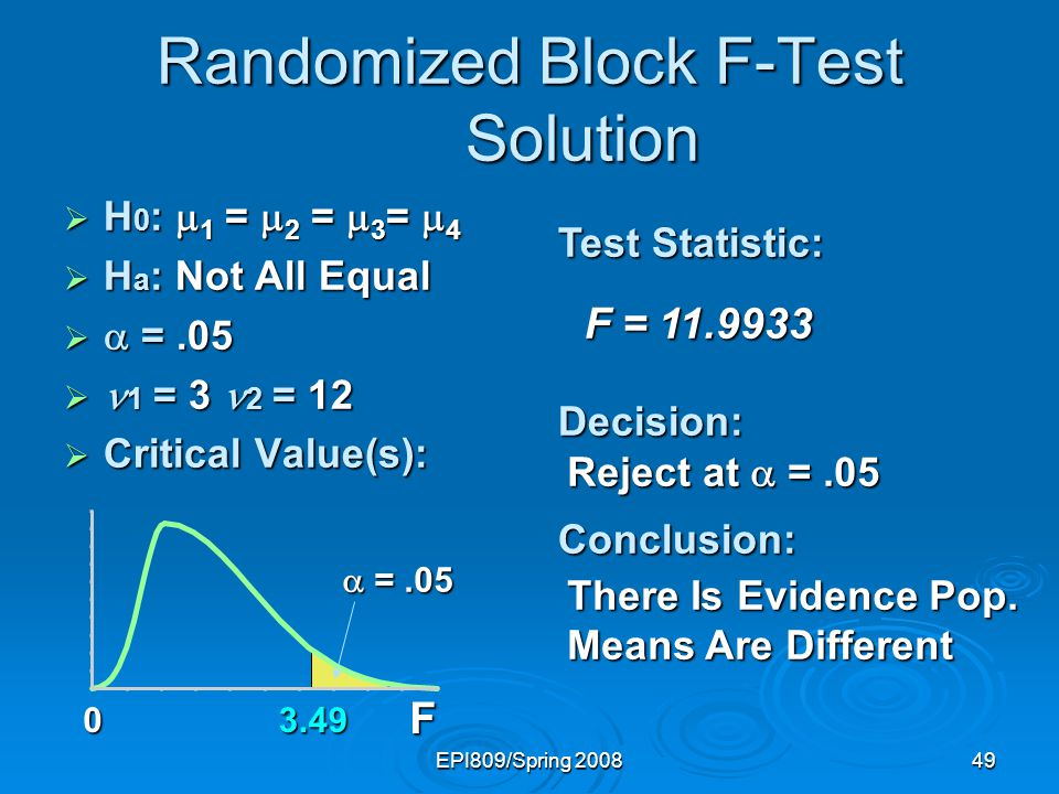 EPI809/Spring 200849 F 03.49 Randomized Block F-Test Solution  H 0 :  1 =  2 =  3 =  4  H a : Not All Equal   =.05  1 = 3 2 = 12  Critical V