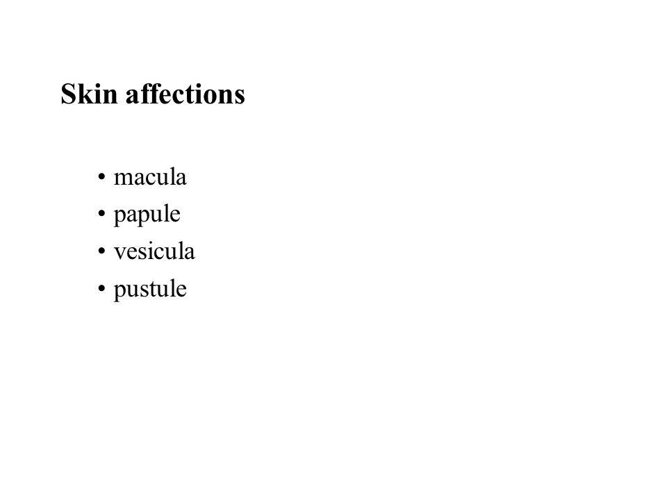Skin affections macula papule vesicula pustule