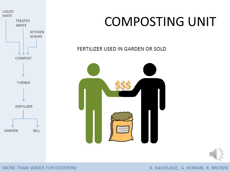 COMPOSTING UNIT AFTER A MONTH, FERTILIZER IS REMOVED MORE THAN WATER FOR EVERYONEK.